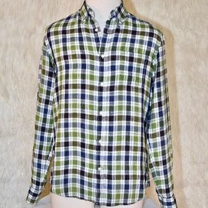 VINCE. Brown, Green And Blue Plaid Button Down Top